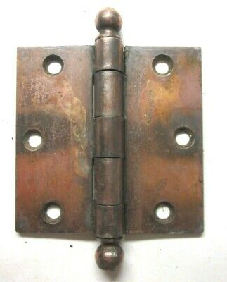"1 Antique SW Stanley 3-1/2"" Butt Hinge Ball Ends Japanned Copper Mortise Door"