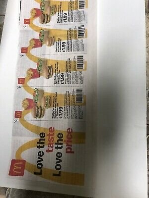 Mcdonalds Vouchers X 4 Valid Until 15/09/19 Not Valid At Drive Thru McDonalds
