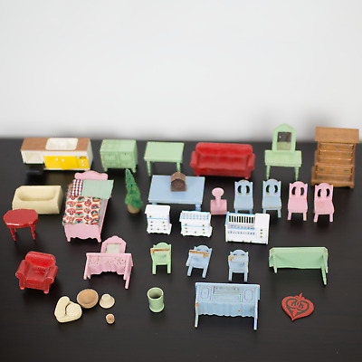 Large Lot Vintage Tomy Smaller Homes Dollhouse Furniture Dolls & Accessories