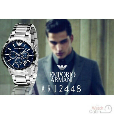 Mens Emporio Armani Chronograph Watch AR2448 Blue Dial Stainless Steel