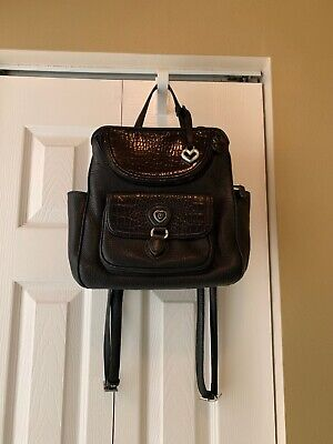 Brighton Donatella Backpack Organizer Black Pebbled Leather Moc Croc Purse Bag