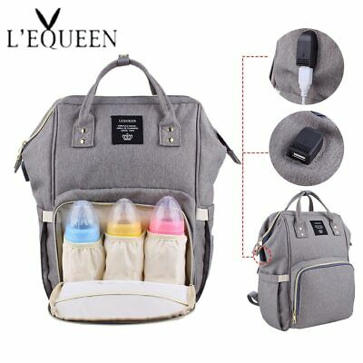 Lequeen USB Diaper baby Bags Large Nappy Bag Upgrade Fashion Travel Backpack