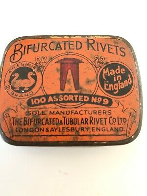 Vintage Tin BIFURCATED RIVETS No 9 Copper