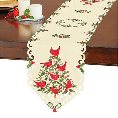 Cardinals and Holly Christmas Table Linens, Elegant Embroidery with Cutwork