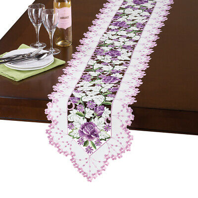 Elegant Spring Table Linens with Embroidered Purple Rose Flowers
