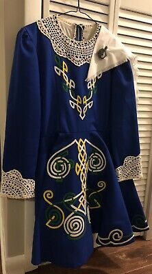 Girls Irish Step Dancing Dress Blue With Sash And Pin (worn when I was 12)