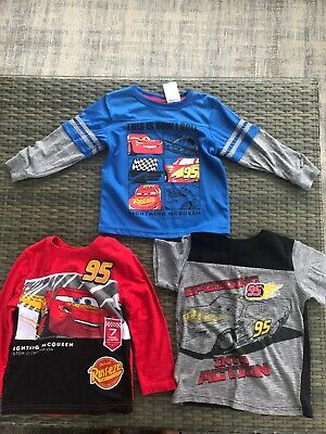 Disney Cars Shirts For Boys Size 4 2 Long Sleeve And 1 T-shirt! Good Condition