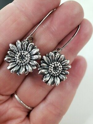 "Vintage Sterling Silver KABANA Sunflower Drop/Dangle Earrings 1.75""T (4.7g)"