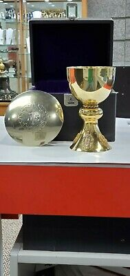 Exceptional Antique  Sterling Silver Gold Plated Church Chalice Paten Set