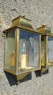 Antique Pair Of Brass Wall Lantern Lights