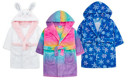 Girls Novelty Super Soft Robe Bunny Rainbow Snowflake Queen Hooded Dressing Gown