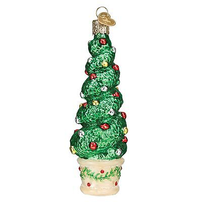 Festive Green Holiday Topiary Blown Christmas Ornament