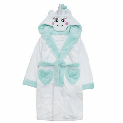 Girls Unicorn Robe Kids Plush Hooded Soft Fleece Bath Robe Novelty Dressing Gown
