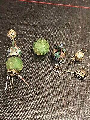 Stunning Antique Art Deco Carved Jade  Enamel Chinese Earrings (Broken)