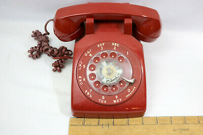 Vintage Red AT&T Rotary Dial Desk Phone Telephone 500DM Tested Dial Tone & Rings
