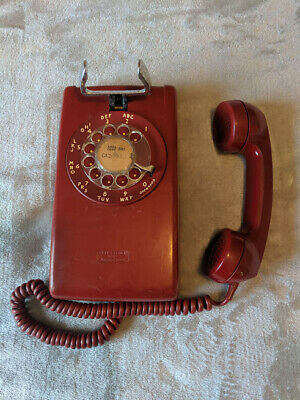 Vintage RED ROTARY DIAL BELL SYSTEM WALL TELEPHONE made by Western Electric