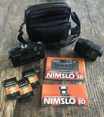 Nimslo 3D 35Mm Camera With Opti-Lite Flash Case & Manual