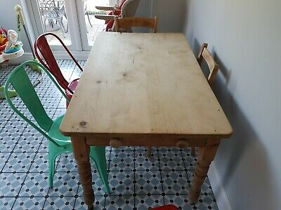 Victorian Pine Kitchen Table, Antique County Kitchen Farmhouse Table,  Furniture