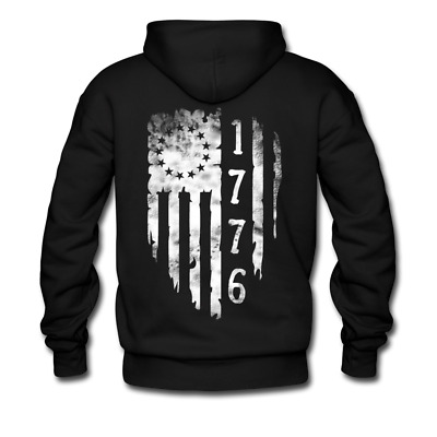 1776 Betsy Ross Distressed 13 star American Flag Men's Hoodie