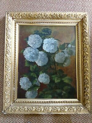 Antique Signed19thc Aesthetic gold leaf framed floral oil painting of hydrangeas