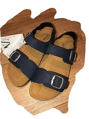 New Zara Boys Buckled Leather Navy Blue Sandals Sz 12.5 Kids
