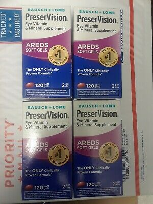4 Bausch + Lomb PreserVision AREDS Formula 480 Softgels Total Exp 2020