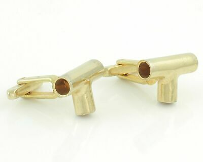 Vintage T Pipe Cuff Links for Plumber Pipefitter Oil Gas Gold Tone Swivel Back