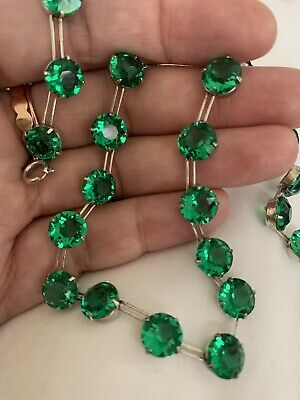 Vintage Antique Art Deco Emerald Green Crystal Paste Glass Open Back Necklace