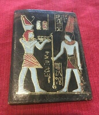 Art Deco 1920s ? Egyptian Great Pyramids Hand Painted Leather Wallet ANTIQUE
