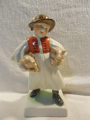 Herend Hungary Porcelain Hungarian Boy Girl with Pigs Figurine #5497