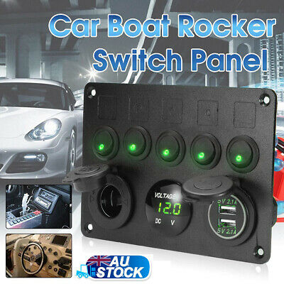 5-Gang ON OFF Toggle Switch Control Panel 2USB Charger 4.2A for Car Marine Greer