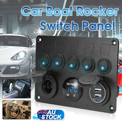 5-Gang Waterproof ON OFF Toggle Switch Control Panel 2 USB Charger 4.2A Car AU