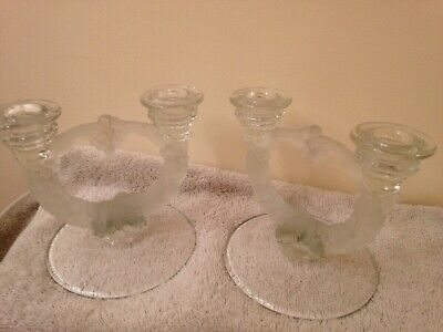 VTG Pr 2 Double Arm Candle sticks Holders CLEAR & FROSTED GLASS GRAPES