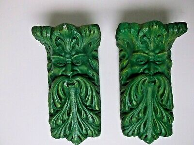 Vintage Corbels by Accents Unlimited Gothic Wall Shelf Bracket Pair Green/Gold