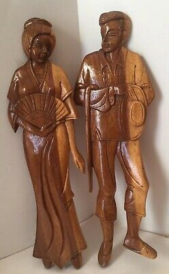 """18"""" Vintage Asian Oriental Wood Carved Man Cane Woman Fan Wooden Wall Hanging"""