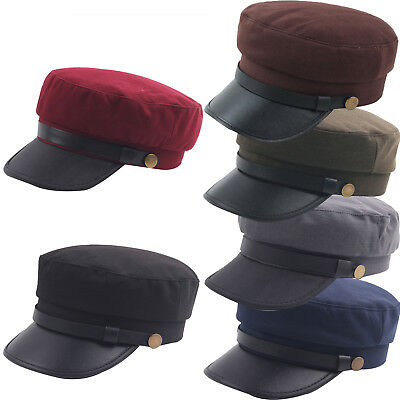 Mens Unisex Greek Fisherman Army Military Style Hats Solid Flat Soldier Outdoor