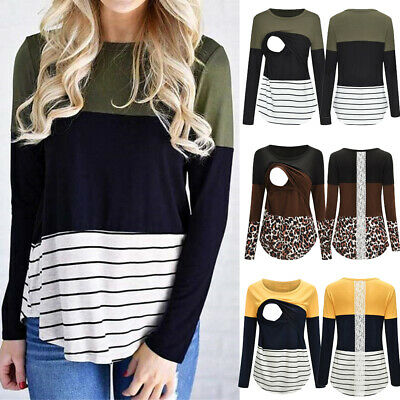 Women Maternity Long Sleeve Stripe Nursing Tops T-shirt For Breastfeeding Blouse