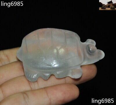 China Hongshan Culture Natural Old Crystal Carved Turtle Tortoise Animal Pendant