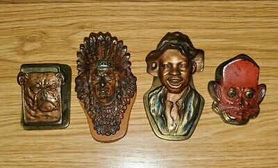 Lot Of 4 Antique Cast Iron Judd Letter Clips Johnny Griffin Bulldog Pixie Indian