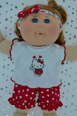 """Play n Wear Dolls Clothes To Fit 14"""" Cabbage Patch POLKA DOT PANTS~TOP~HEADBAND"""
