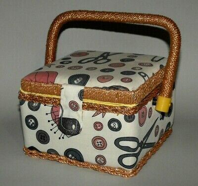 Small Square Birch Sewing Basket Box * Pins Ribbons Buttons Carry Handle