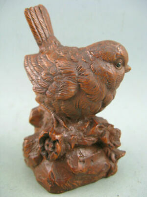 Antique Chinese Old Boxwood Hand Carved Sparrow Netsuke Statue