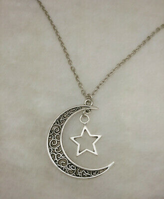 Crescent Moon and Star Pendant Ancient Silver Jewelry Necklace