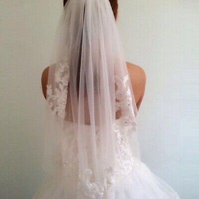 New Lace short Wedding Veil 1T Ivory / white Tulle Elbow Bridal veil + Comb N2C