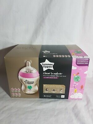 Tommee Tippee Closer To Nature 6x260ml decorated Baby Bottles Pink NIB Aus