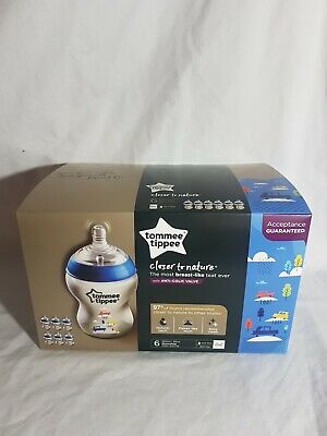 Tommee Tippee Closer To Nature 6x260ml decorated Baby Bottles Blue NIB Aus