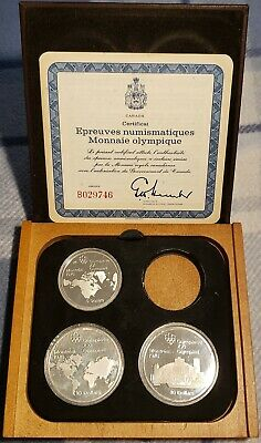 1976 CANADA Montreal Olympics DELUXE PROOF 3 Silver Coin Set w/Case&COA SERIES#1