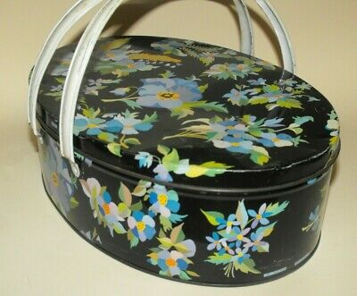 Biscuit Tin Oval with Handles Black Pansies Pattern Numbered England c.1950's