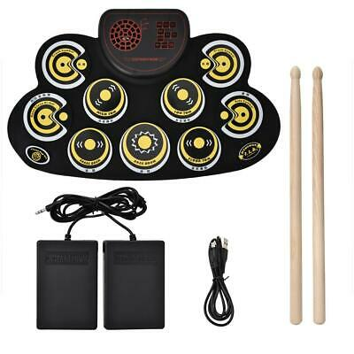 Kids Electronic Foldable Roll Up USB Drum Silicone Kit w/2 Drum Sticks Pedal ❤gi