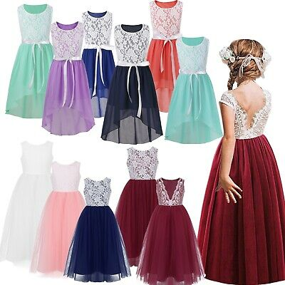 Kids Flower Girl Dress Party Gown Formal Wedding Bridesmaid Pageant Lace Dresses